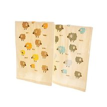 Set of 2 Cartoon Lamb Soft Cotton Baby Washcloths Portable Facecloths/Towels