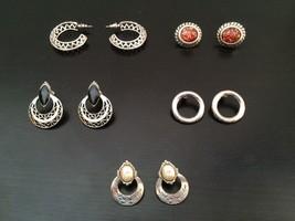 Earrings 5 Pair Lot Vintage Silver Tone Costume Embellished Circles Hoop... - $17.99