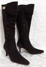 fe1a00efa99 Franco Sarto Brown Suede Leather Knee High Boots Sz.7.5M Slim High Heels  Pointy