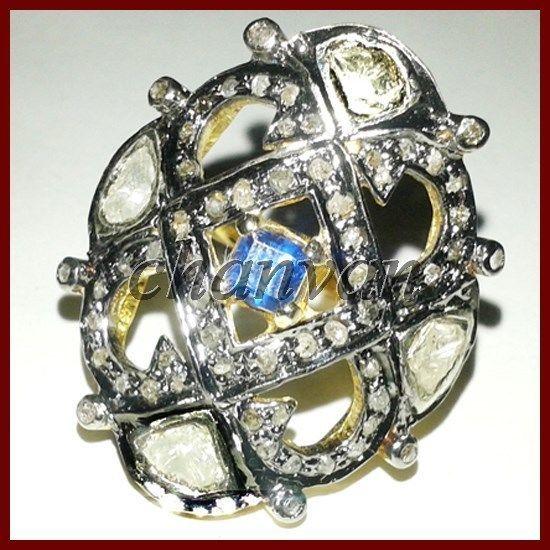 Artisan Antique Look Rose Cut Diamond Sterling Silver Topaz Polki Ring