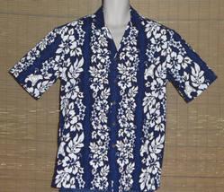 Aloha Republic Hawaiian Shirt Blue White Tan Vertical Flowers Size Large... - $22.99