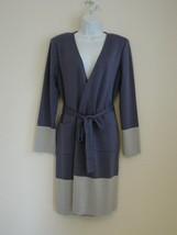 New ST. JOHN Concord Platinum Melange Wool Color Block Wrap Knit Long Jacket 10 - $242.49
