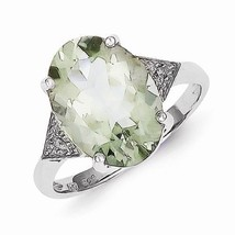 STERLING SILVER OVAL STONE GREEN QUARTZ AND DIAMOND RING - SIZE 8 - £55.37 GBP