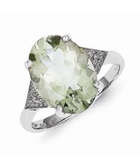 STERLING SILVER OVAL STONE GREEN QUARTZ AND DIAMOND RING - SIZE 8 - $77.18