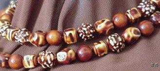 Vintage 2-Strand Hard Plastic Beads Geometric Design