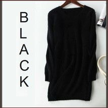 Ladies Soft Mink Cashmere Long Sleeve Black V-Neck Mini Sweater Shirt Dress