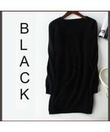 Ladies Soft Mink Cashmere Long Sleeve Black V-Neck Mini Sweater Shirt Dress - $108.95