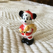 Vintage Walt Disney Japan Mickey Mouse Christmas Tree Ceramic Ornaments Santa - $15.00