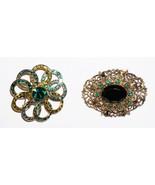 2 Lot Green Rhinestones & Cabachon Dome Circulair Brooch Pin  - $23.78