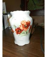 WHITE CERAMIC VASE WITH ORANGE POPPIES GREEN LEAVES/FLOWER EMBOSSED DESIGN/ - $13.85