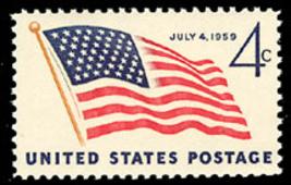 1959 4c 49-Star Flag, July 4th Scott 1132 Mint F/VF NH - $0.99