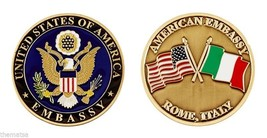 "AMERICAN EMBASSY ROME ITALY CROSSED FLAGS 1.75"" CHALLENGE COIN - $16.24"