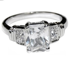 The Look Of Real Pave & Emerald Cut Bridal Clear Cubic Zirconia Band Ring - $19.99