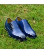 New Handmade Men Whole Cut  Blue Shoes, Oxford shoes for men, Leather shoes - $149.99+