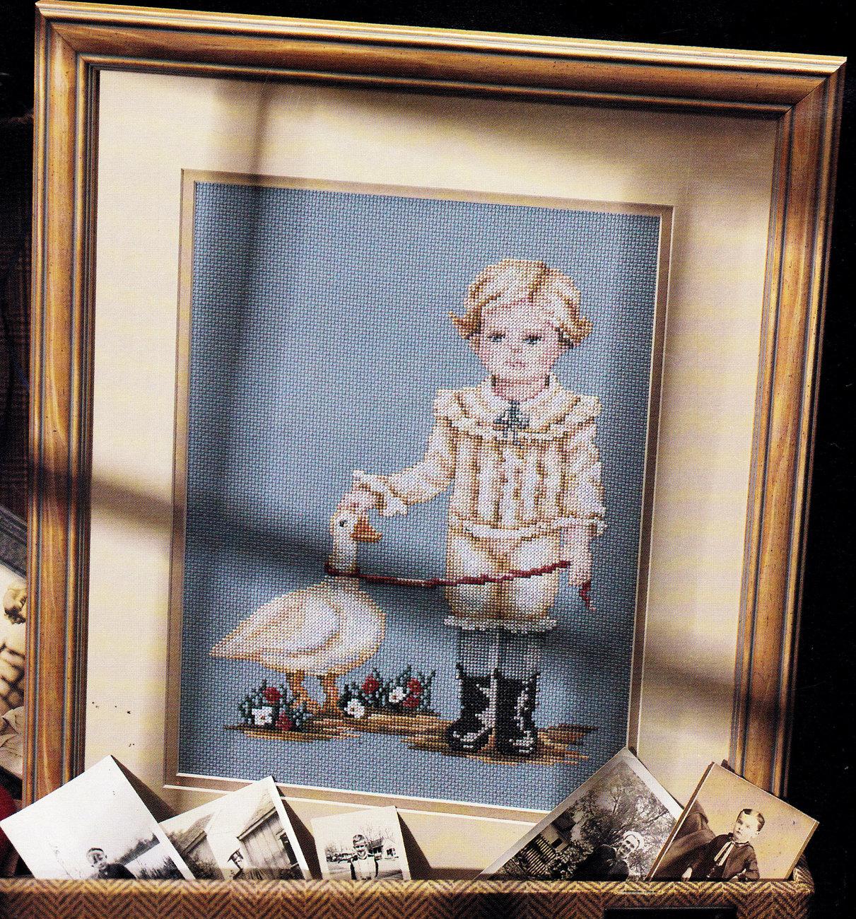 CROSS STITCH LADDIE  LEISURE ARTS 596 BOY WITH DUCK GOOSE NOS