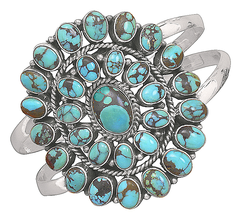 Oxidized Oval Turquoise Sterling Silver Cuff Bracelet