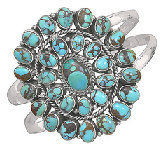 Oxidized Oval Turquoise Sterling Silver Cuff Bracelet  - $539.17 CAD