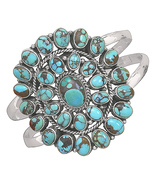 Oxidized Oval Turquoise Sterling Silver Cuff Bracelet  - €365,66 EUR