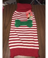 Pet Clothes Dog Knitted Sweater Size Medium Red And White Thin Stripe Gr... - $8.78