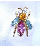 Coro Bee Pin  Pink Blue,Gold Sets Signed Sterling, 1940's Vintage EXC - $34.99