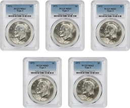 Plein de 1972 PCGS MS63 (Type 3, 5 Pièces Total ) - Eisenhower Dollar - $106.70
