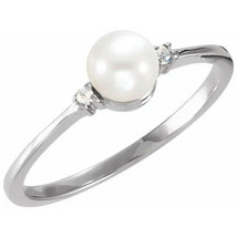 14K White Freshwater Cultured Pearl & .025 CTW Diamond Ring - $313.23