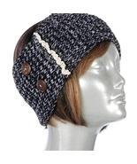 Gingas Galleria Dark Grey Button Lace Crochet Wide Headband Ear Warmer - $12.50