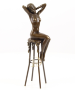 Antique Home Decor Bronze Sculpture shows Lady on Chair signed Free Air ... - $159.00