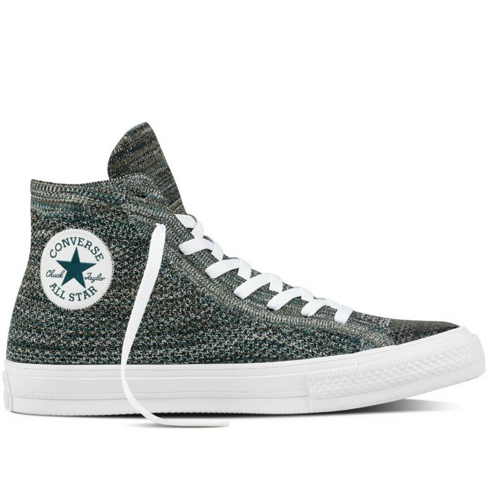 Converse Mens Chuck Taylor All Star Hi Flyknit 157509C Teal/White Size 10 image 2