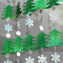 Sequined Christmas Drop Curtains Decoration Snowflakes Xmas Tree Ornamen... - €9,61 EUR