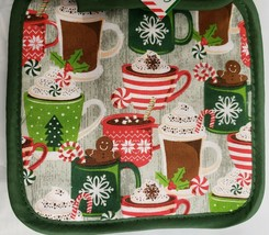SET 2 Printed Kitchen Pot Holders, WINTER, CHRISTMAS CUPS with green bac... - $7.91