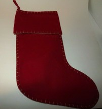 VHC Oslo Cuffed Christmas Stocking Red Wool Blend Stocking Stitch Trim 1... - $11.62