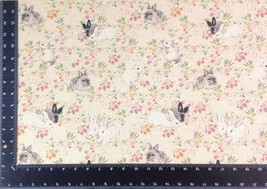 Wildlife Rabbits Flowers Linen Look High Quality Fabric Material *3 Sizes* - $1.79+