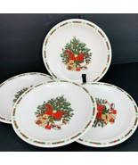Ten Strawberry Street O Christmas Tree Holiday 1987 Desert Plate 4 Pc Salad - $39.59