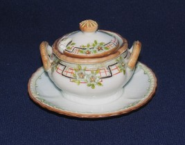VINTAGE HAND PAINTED DIMINUTIVE SUGAR BOWL ATTACHED TO SAUCER W SMALL SPOON - $14.36