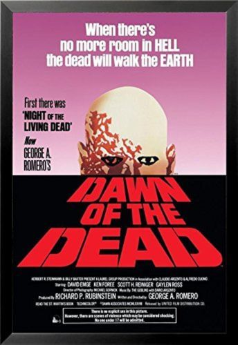 FRAMED George A. Romeros -Dawn of the Dean 1978 36x24 Zombie Movie Poster Horror