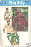 1970s Mens Western Shirt Simplicity 7698 Chest 38 Neck 15 Sewing Pattern Simplicity