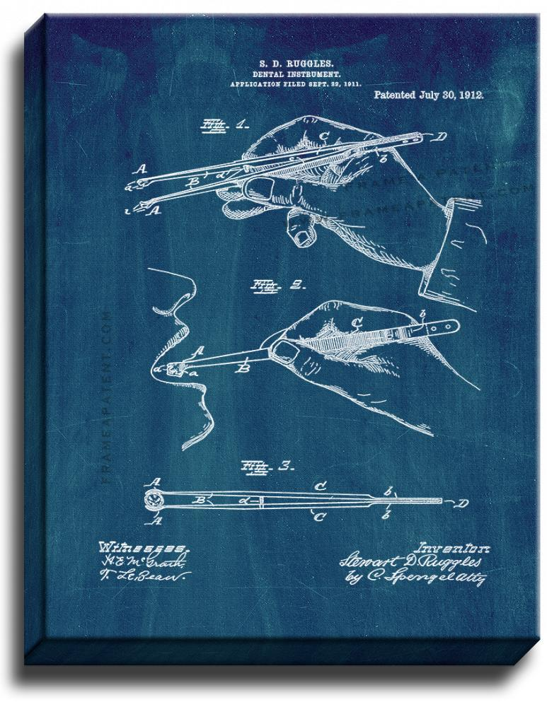 Primary image for Dental Instrument Patent Print Midnight Blue on Canvas