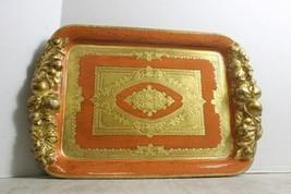 "Italian Florentine Handmade Wooden Tray Wood Orange & Gold 17"" x 11 image 1"