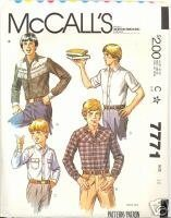 1980s Teen Boy's Western Shirt McCalls 7771 Size 16 Vintage Sewing Pattern McCall's