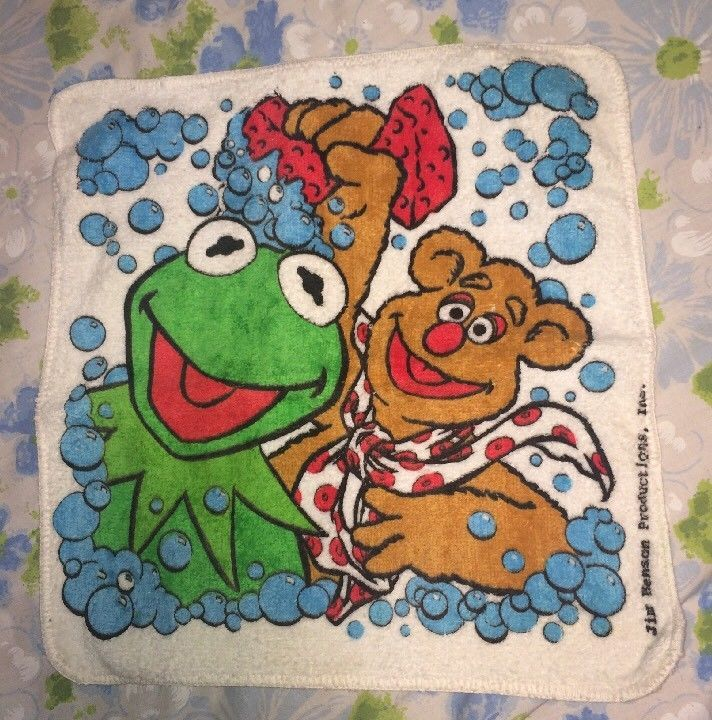 VTG LOT 4 Muppets Kermit Fozzie Towels Hand Dish Bathroom Beach Henson 80s 90s