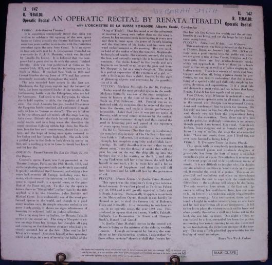 An Operatic Recital by RENATA TEBALDI - London LL 142