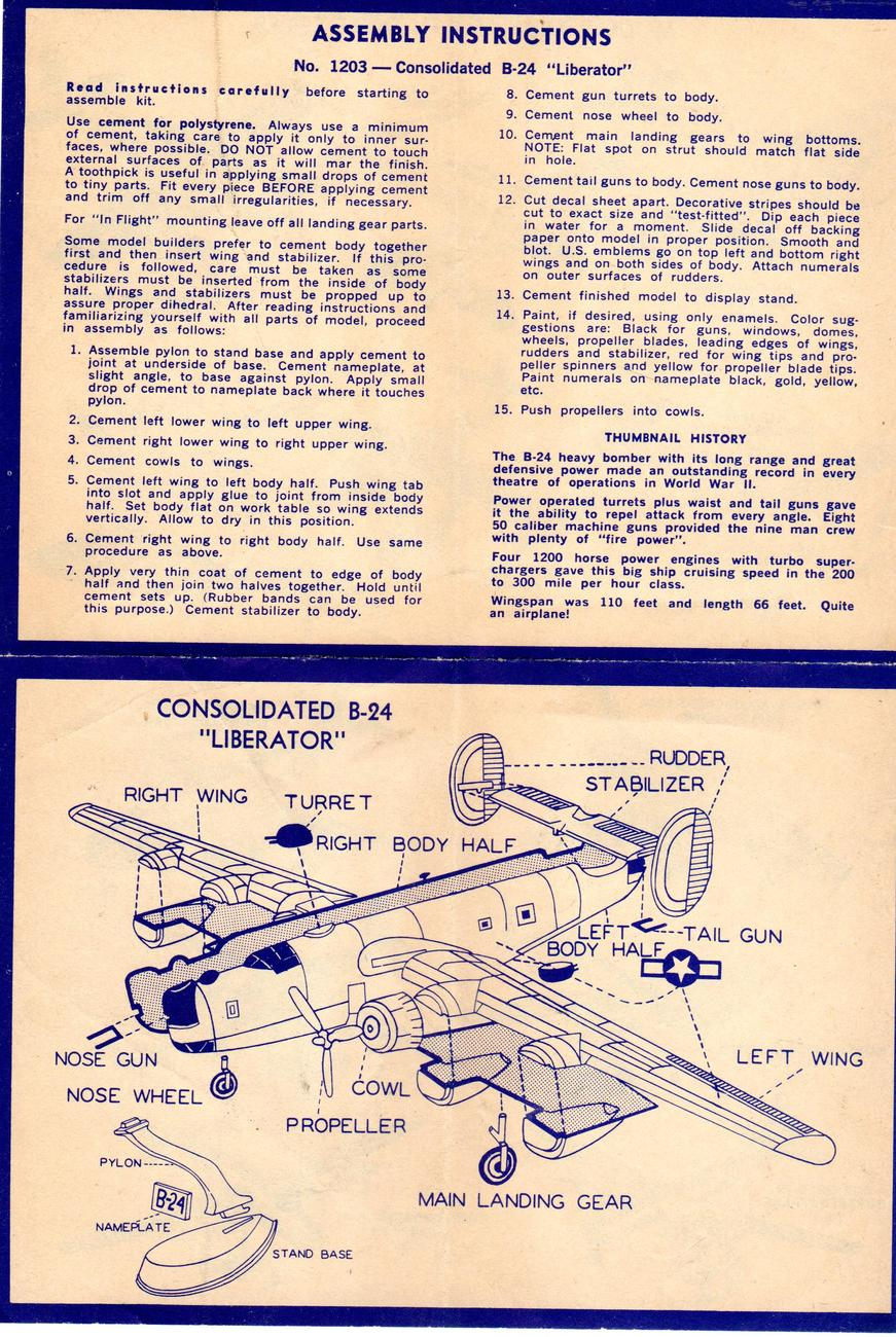 B-24 Liberator Assembly Instructions and Catalogue of airplanes (1950's)