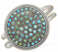 Large Oxidized Sterling Silver Round Turquoise Cuff Bracelet - $432.58 CAD