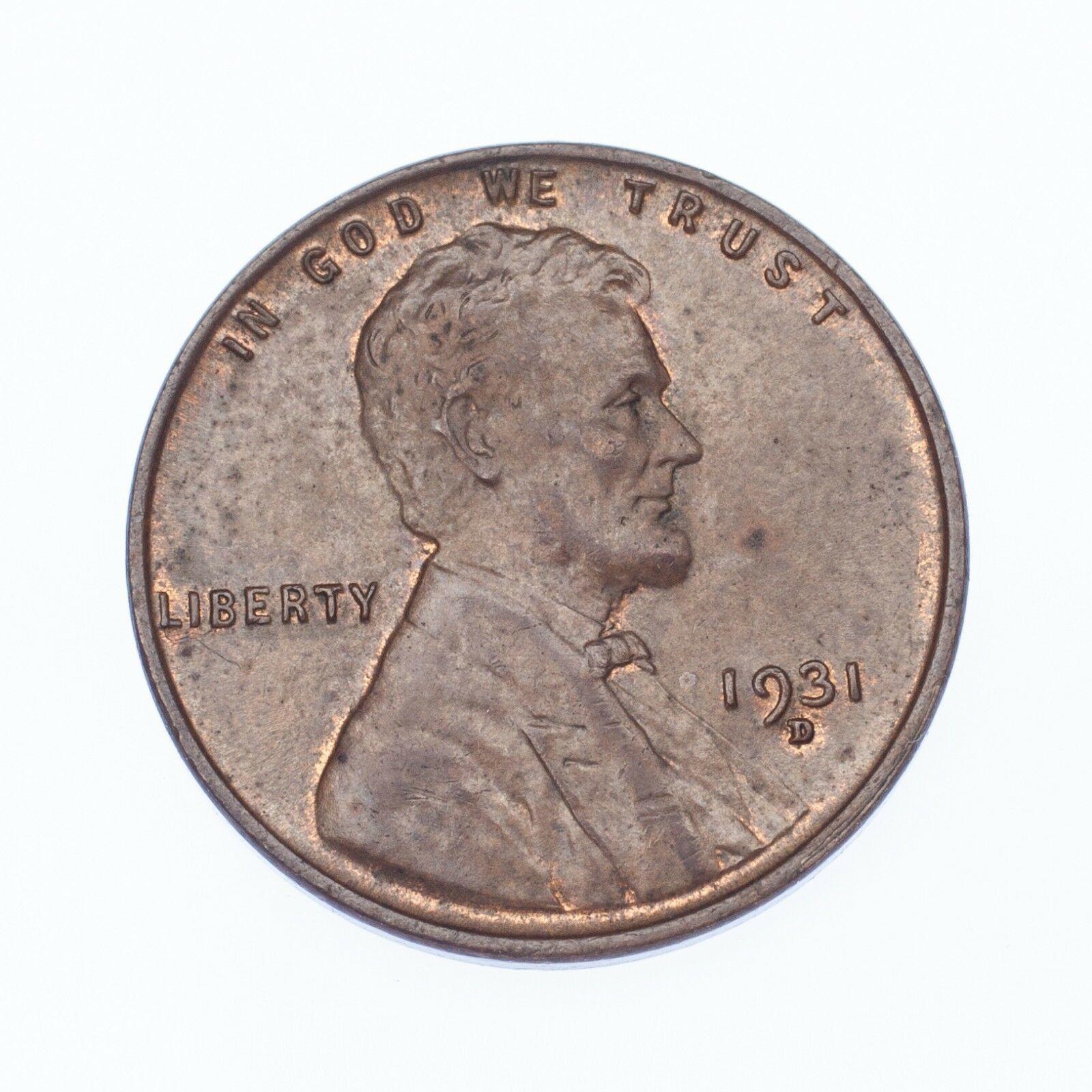 1931-D 1C Lincoln Cents en au État, Marron Couleur