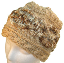 Brown hand knit hat with multicolor brown cable - $25.00