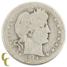 1914-S Barber Silver Quarter 25c (AG) About Good Condition - $62.32