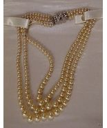 Vintage 3-Strand MARVELLA Faux Pearl Choker Necklace - $35.00