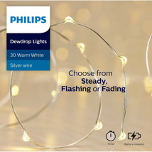 Philips 30ct Christmas LED Dewdrop Lights 4 Function Battery Operated White J image 1