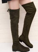 8Cb137 lady's over-the-knee low-heeled boot, stretchable cloth size 5-10,green - $58.80